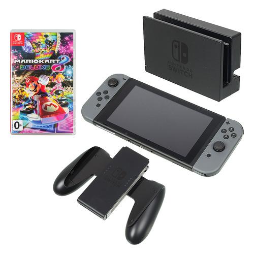 Игровая консоль NINTENDO Switch с игрой Mario Kart 8 Deluxe, серый цена и фото