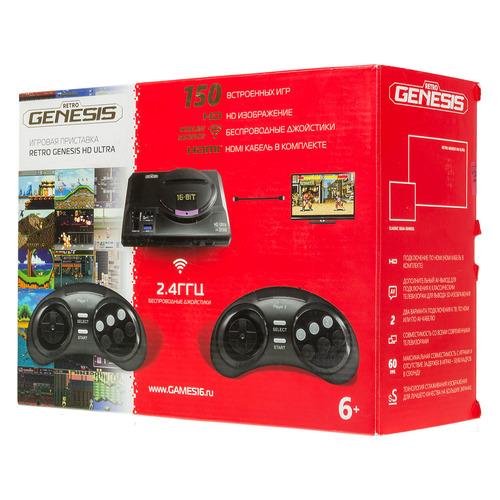 Фото - Игровая консоль RETRO GENESIS HD Ultra 150 игр, два беспроводных джойстика, черный игровая консоль retro genesis modern 170 игр два джойстика черный