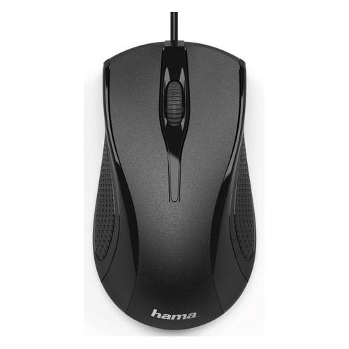 Мышь HAMA MC-200, оптическая, проводная, USB, черный [00182602] мышь cbr cm 101 black silver usb проводная оптическая 1200 dpi 2 кнопки колесо
