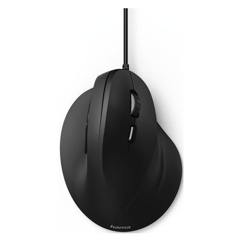 Мышь HAMA EMC-500, вертикальная, оптическая, проводная, USB, черный [00182698] мышь hama mc 300 оптическая проводная usb черный [00182606]