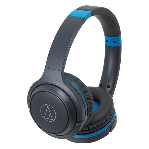 Наушники с микрофоном AUDIO-TECHNICA ATH-S200BT, Bluetooth, накладные, черный/синий [15120052] наушники audio technica ath ws550is brd 3 5 мм накладные черный красный [10102360]