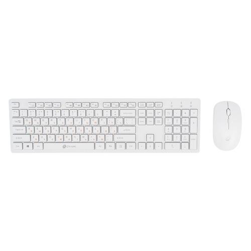 Комплект (клавиатура+мышь) OKLICK 240M, USB, беспроводной, белый цена и фото