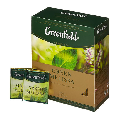 Чай GREENFIELD Green Melissa, зеленый, мелисса, 100шт