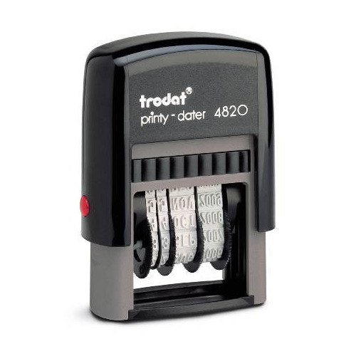 Датер автоматический TRODAT 4820 PRINTY, оттиск 20 х 4 мм, шрифт 4 мм, прямоугольный шрифт 4 мм цифры и знаки