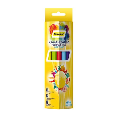 Карандаши цветные Silwerhof 134216-24 Солнечная коллекция трехгран. 3мм 24цв. коробка/европод. 6 шт./кор. карандаши цветные krasin веселый кролик 24 шт