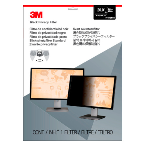 """Экран защиты информации 3M PF200W9B для монитора 20"""", 16:9, черный [7000021449]"""