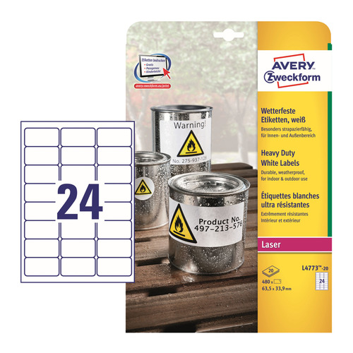 Этикетки Avery Zweckform L4773-20 A4 33.9x63.5мм 24шт на листе/196г/м2/20л./белый самоклей. для лазе