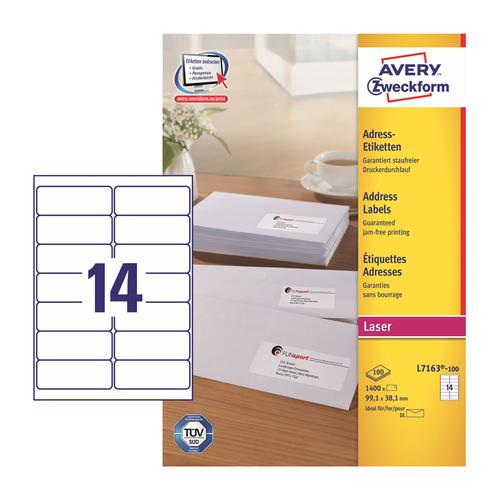 Этикетки Avery Zweckform L7163-100 A4 99.1x38.1мм 14шт на листе/70г/м2/100л./белый самоклей. универс L7163-100 по цене 2 410