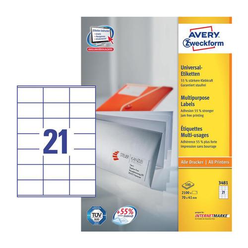 Этикетки Avery Zweckform 3481 A4 70x41мм 21шт на листе/70г/м2/100л./белый матовое самоклей. универса 3481 по цене 1 770