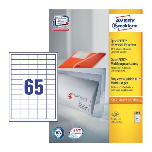 Этикетки Avery Zweckform 3666 A4 97x21.2мм 65шт на листе/70г/м2/100л./белый матовое самоклей. универ 3666 по цене 1 910