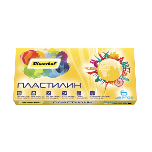 Упаковка пластилина SILWERHOF Солнечная коллекция 956153-06, 6 цветов, 90грамм, картонная коробка 30 шт./кор. набор пластилина луч классика 6 цветов 12с878 08 со стеком