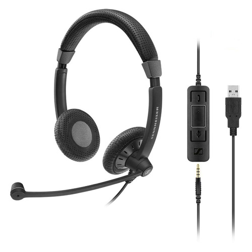 купить Гарнитура SENNHEISER SC 75 USB MS, для контактных центров, накладные, черный [507086] по цене 6340 рублей