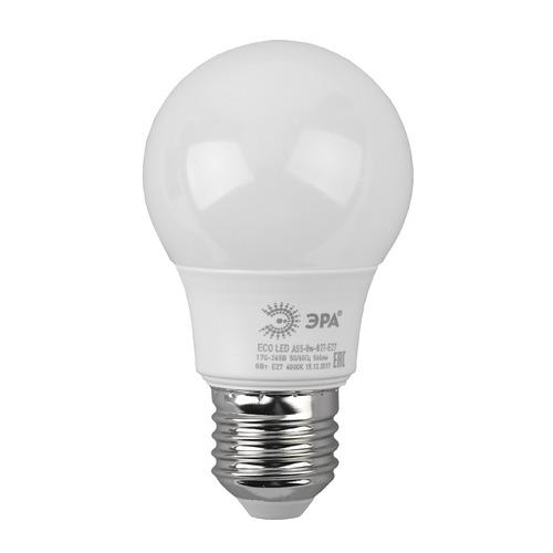 Упаковка ламп ЭРА A55-8W-827-E27, 8Вт, 640lm, 25000ч, 2700К, E27, 3 шт. [б0032095] A55-8W-827-E27 по цене 170