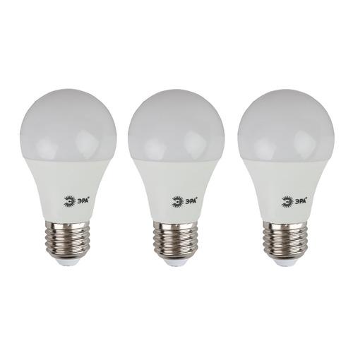 Лампа ЭРА A60-10W-827-E27, 10Вт, 800lm, 25000ч, 2700К, E27, 3 шт. [б0028006] лампа светодиодная gauss elementary грушевидная цвет белый a60 10вт 2700к e27 880лм 180 240в 23210