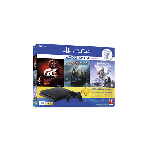 Игровая консоль SONY PlayStation 4 Gran Turismo Sport, God of War, Horizon: Zero Dawn 1ТБ, CUH-2208B, черный игровая консоль sony playstation 4 slim 1tb black cuh 2208b gran turismo sport god of war horizon zero dawn ce psn 3 месяца