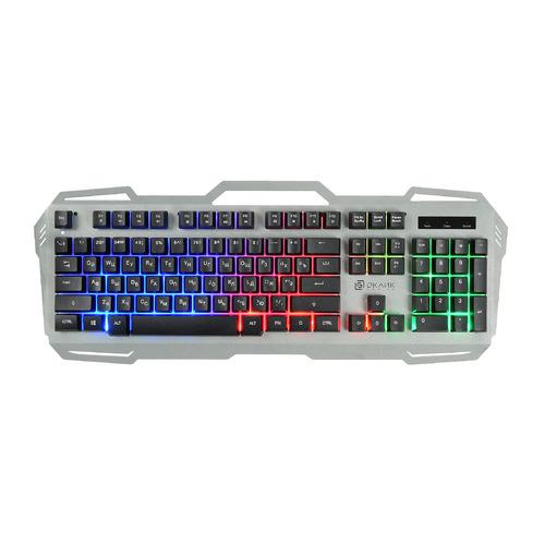 Клавиатура OKLICK 747G, USB, серый + черный