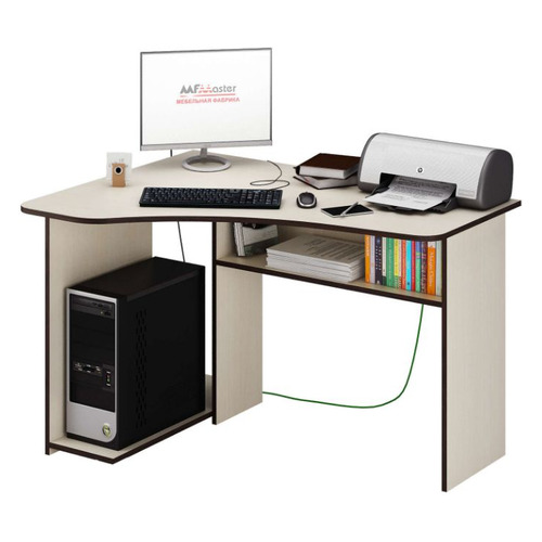 Стол компьютерный МАСТЕР Триан-1 левый угол, ЛДСП, дуб молочный