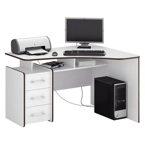 Фото - Стол компьютерный МАСТЕР Триан-5 правый, ЛДСП, белый и венге стол компьютерный триан 1