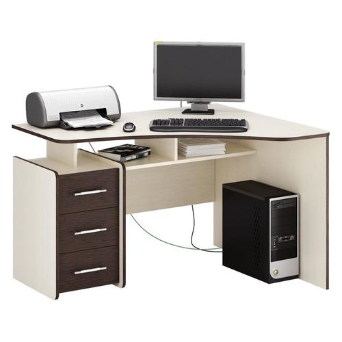 Стол компьютерный МАСТЕР Триан-5 правый, угловой, ЛДСП, дуб молочный и венге