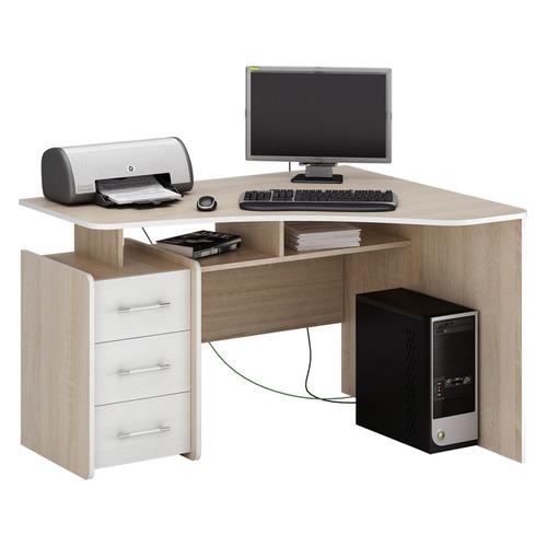 Стол компьютерный МАСТЕР Триан-5 правый, угловой, ЛДСП, дуб сонома и белый