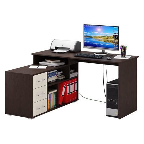 Стол компьютерный МАСТЕР Барди-2, угловой, ЛДСП, венге и дуб молочный