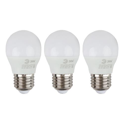 Упаковка ламп LED ЭРА E27, шар, 6Вт, 2700К, белый теплый, Р45-6W-827-E27, 3 шт. [б0020629]