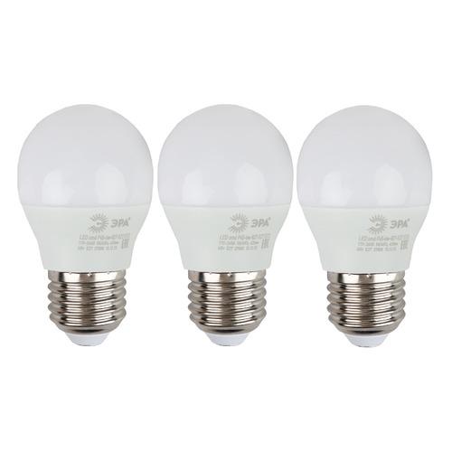 Упаковка ламп LED ЭРА E27, шар, 6Вт, 4000К, белый нейтральный, Р45-6W-840-E27, 3 шт. [б0020630] Р45-6W-840-E27 по цене 180