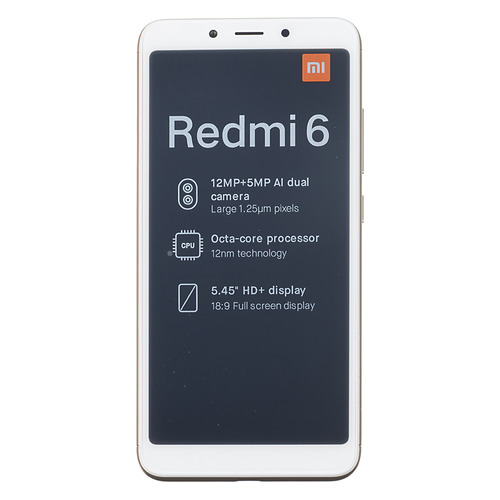 Смартфон XIAOMI Redmi 6 3/64Gb, золотистый
