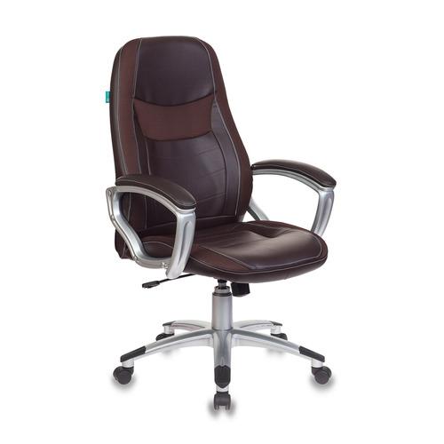 Кресло руководителя БЮРОКРАТ T-9910N, на колесиках, искусственная кожа, коричневый [t-9910n/brown]