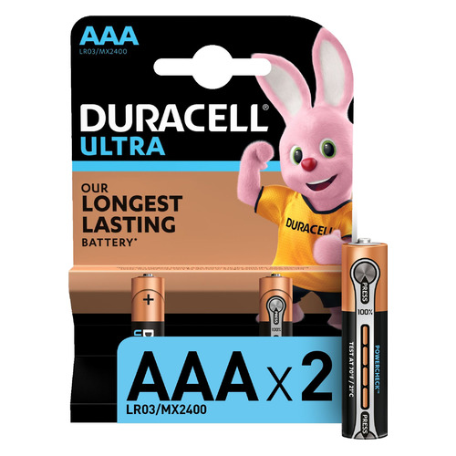 AAA Батарейка DURACELL Ultra LR03-2BL MX2400, 2 шт. aaa батарейка duracell ultra power lr03 4bl mx2400 4 шт
