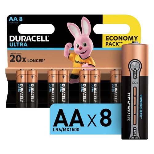 AA Батарейка DURACELL Ultra LR6-8BL MX1500, 8 шт. LR6-8BL MX1500 по цене 610