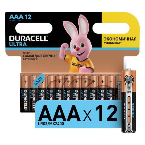AAA Батарейка DURACELL Ultra LR03-12BL MX2400, 12 шт. aaa батарейка duracell ultra lr03 2bl mx2400 2 шт