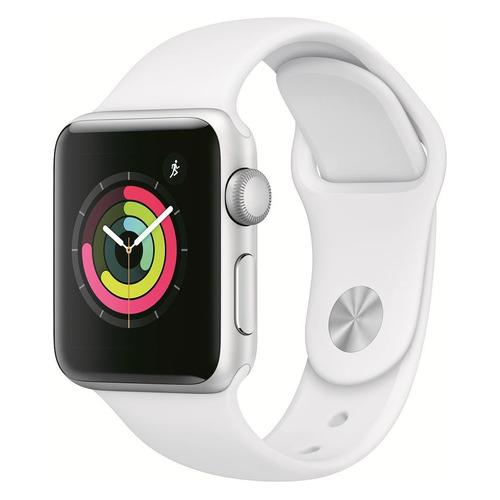 Смарт-часы APPLE Watch Series 3 38мм, серебристый / белый [mtey2/a] цены