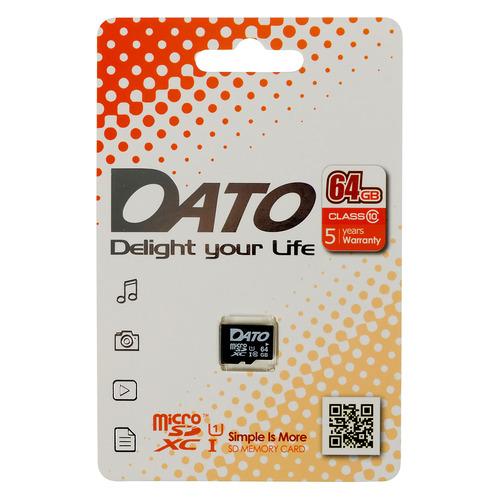 Фото - Карта памяти microSDXC UHS-I U1 DATO 64 ГБ, 80 МБ/с, Class 10, DTTF064GUIC10, 1 шт. карта памяти microsdhc uhs i u1 dato 16 гб 40 мб с class 10 dttf016guic10 1 шт
