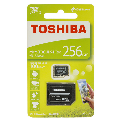 Фото - Карта памяти microSDXC UHS-I TOSHIBA M203 256 ГБ, 100 МБ/с, Class 10, THN-M203K2560EA, 1 шт., переходник SD переходник