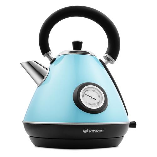 Чайник электрический KITFORT КТ-644-1, 2200Вт, голубой и черный недорого