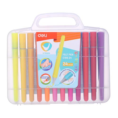 Фото - Упаковка фломастеров DELI U-touch EC10624, смываемые, 24 цв., пластиковый пенал 8 шт./кор. упаковка мелков восковых deli colorun ec20810 ec20810 18 цветов 24 шт кор