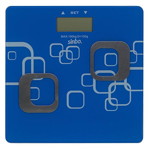 Напольные весы SINBO SBS 4448, до 180кг, цвет: синий/белый sinbo весы напольные электронные sinbo sbs 4414 макс 150кг серебристый черный