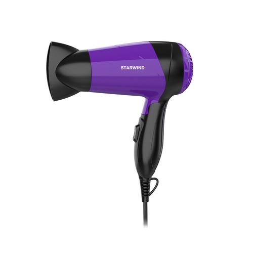 Фен STARWIND SHP6102, дорожный, 1600Вт, черный и фиолетовый фен ga ma tempo 2200вт фиолетовый