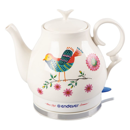 Чайник электрический ENDEVER Skyline KR-410 С, 1600Вт, белый и рисунок цена и фото