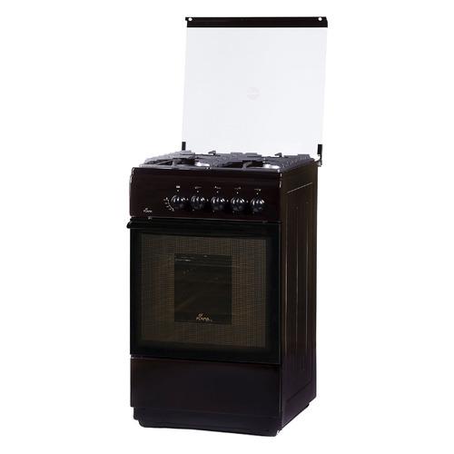 Газовая плита FLAMA FG 24022 B, газовая духовка, стеклянная крышка, коричневый