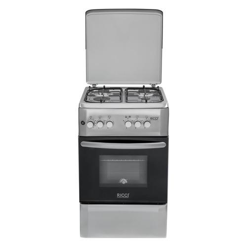 Газовая плита RICCI RGC5001IX, газовая духовка, нержавеющая сталь газовая плита hansa fcgi63022 газовая духовка нержавеющая сталь