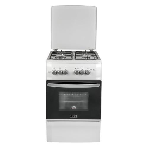 Газовая плита RICCI RGC5002WH, газовая духовка, металлическая крышка, белый