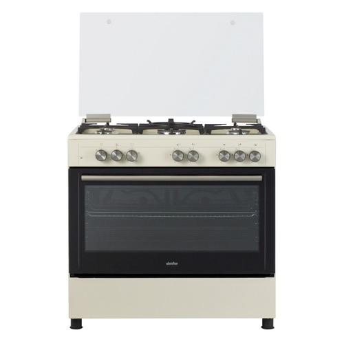 Газовая плита SIMFER F96EO52001, электрическая духовка, стеклянная крышка, бежевый и черный цена 2017