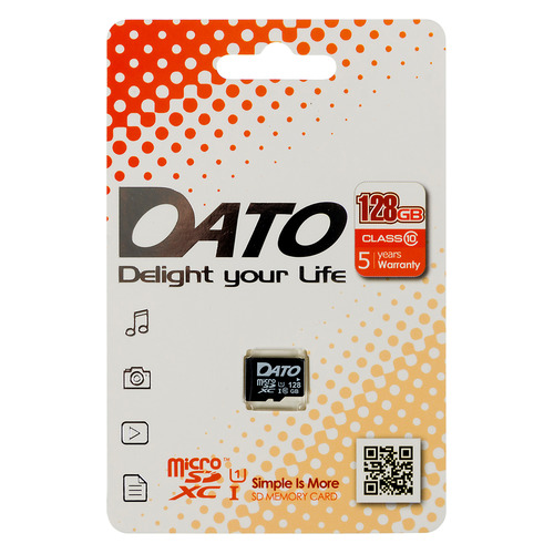 Фото - Карта памяти microSDXC UHS-I U1 DATO 128 ГБ, 80 МБ/с, Class 10, DTTF128GUIC10, 1 шт. карта памяти microsdhc uhs i u1 dato 16 гб 40 мб с class 10 dttf016guic10 1 шт