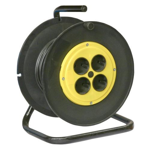 Удлинитель силовой Калибр УСК2-4-30 (217126) 2x2.5кв.мм 4розет. 30м ПВС 20A катушка черный силовой удлинитель на катушке 4 гн 30м союз 481s 3703