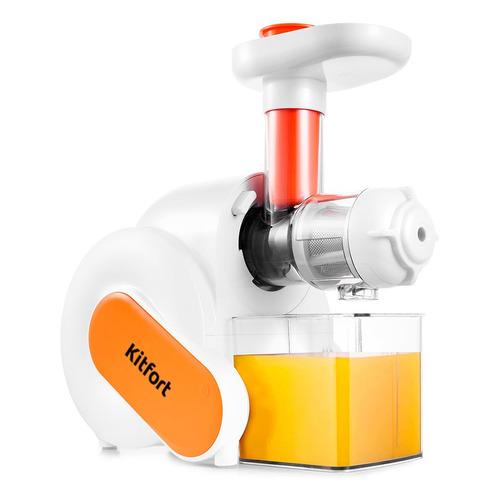 Соковыжималка KITFORT KT-1110-2, шнековая, белый и оранжевый цена и фото