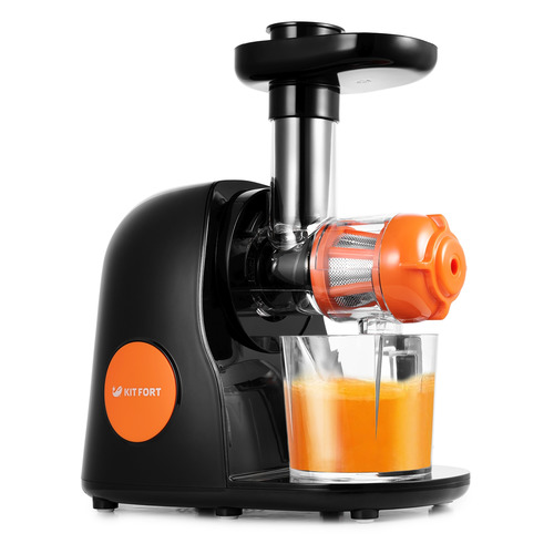 Соковыжималка KITFORT КТ-1111-2, шнековая, черный и оранжевый цена
