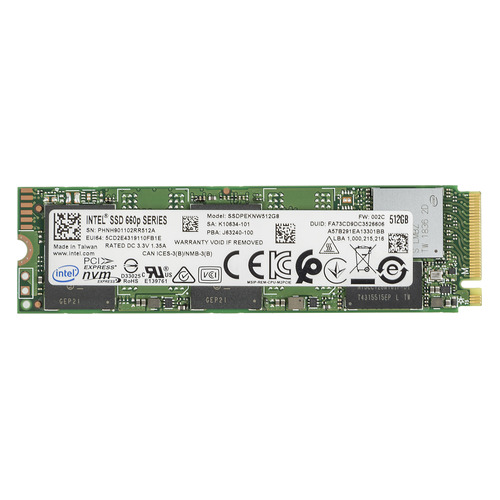 SSD накопитель INTEL 660P SSDPEKNW512G8X1 512Гб, M.2 2280, PCI-E x4, NVMe [ssdpeknw512g8x1 978348] цена