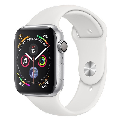 Смарт-часы APPLE Watch Series 4 44мм, серебристый / белый [mu6a2/a] запчасти apple watch